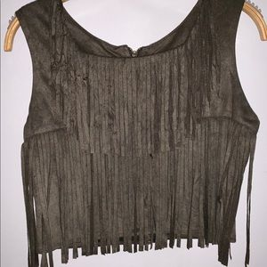 Boutique Funky Olive Green Fringe Cropped Blouse